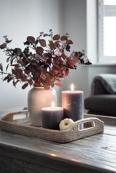Stunning faux burgundy eucalyptus and elderberries, the perfect autumnal arrangement. Coffee Table Styling, Decorating Coffee Tables, Fall Home Decor, Autumn Home, Table Decor Living Room, Autumn Decor Living Room, Living Room Candles, Bedroom Candles, Autumn Interior