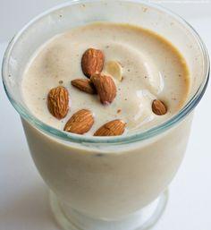 banana/almond smoothie:  Blend 1 banana, skim milk, 5 unsalted almonds, 1 spoonful of virgin coconut oil