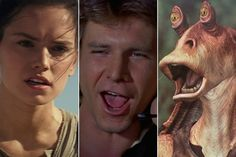 Are You More Rey, Han Solo or Jar Jar Binks? - Welcome to the Russian roulette of 'Star Wars' personality quizzes. Star Wars Quiz, Star Wars Facts, Star Wars Film, Star Wars Quotes, Star Wars Humor, Online Quizzes, Feeling Scared, Russian Roulette, Star Wars Tattoo