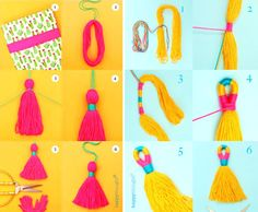 Step by step yarn or embroidery thread easy tassels in Happythought's book Llama Crafts by Ellen Deakin.