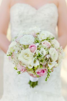 Pink, White and Green Bridal Bouquet | Photographer: Chelsea Nicole | Flowers: Wedding Chapels at Bellagio | www.theknot.com