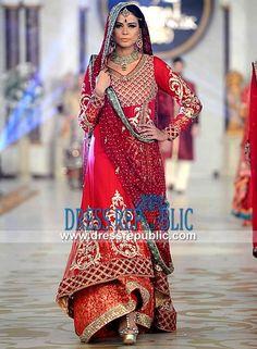 Crinkle Chiffon Red Two-legged Sharara Dress by Maria B Style 360 PBCW