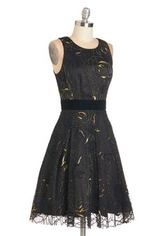 Night of Note Dress. Smooth your hands over the velvet waistband of this black floral party dress and enter the ballroom with bravado! #black #modcloth