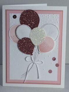 Balloon Celebration from Stampin' Up! using Blushing Bride & Pink Pirouette.  Love the glimmer papers.