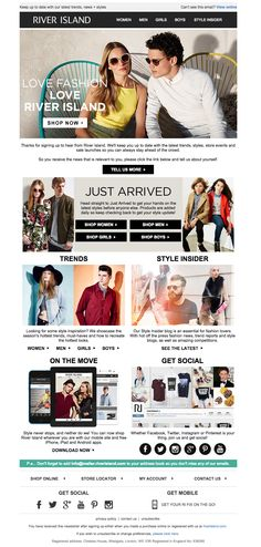 River Island  | welcome | WelcomeEmails | emailmarketing | email | newsletter | welcome newsletter | welcome email | WelcomeEmail | relationship emails | emailDesign
