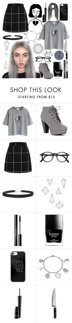 """""""black and grey."""" by unicornpotter ❤ liked on Polyvore featuring WithChic, ANNA, Humble Chic, Umbra, Butter London, Love This Life, MAC Cosmetics and KitchenAid"""