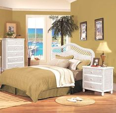 SANTA-CRUZ-WHITE-3PC-SET White Wicker Bedroom Furniture, White Stain, Queen Headboard, King Size, Home Decor, Santa Cruz, Decoration Home, Room Decor, Home Interior Design