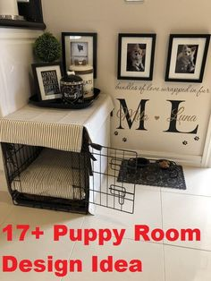 If the notion of a crate turns your stomach, you've got alternatives. Puppy Crate, Diy Dog Crate, Dog Crate Cover, Puppy Room, Puppy Beds, Puppy Playpen, Dog Bedroom, Room Ideas Bedroom, Dog Station
