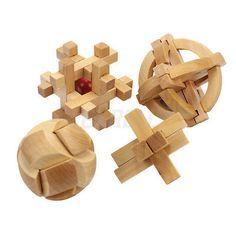 4-Tipos-Rompecabezas-3D-Puzzle-Madera-IQ-Juguete-Educativo-Habilidad-Ingenio