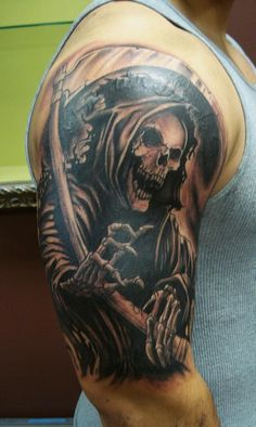 An old school choice, the Death Grim Reaper tattoo is a pretty famous choice.