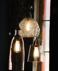 Exquisite Glass Pendant Light, I like how they hang multiple lights together.