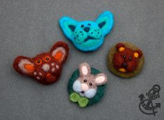 Handcrafted Needle Felted Brooches