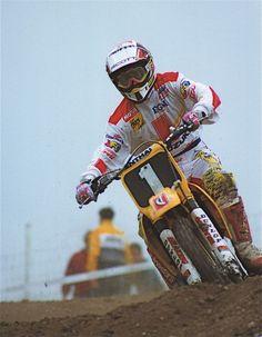 1994 British Motocross Grand Prix at Foxhills, Swindon, UK. Suzuki Motocross, Motocross Racer, Motocross Bikes, Vintage Motocross, Dirtbikes, Street Bikes, Sidecar, Grand Prix, Trials