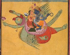 Vishnu and Lakshmi on Garuda, c. 1750  India, Rajasthan, Bundi school, 18th century ink and color on paper, Overall: 12.70 x 15.70 cm (5 x 6 1/8 inches). Gift of John D. Proctor 1990.