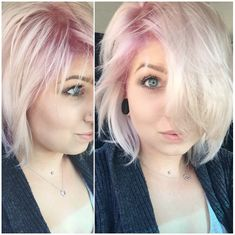 Short platinum hair with dusty pink roots. I want this but with blue roots!