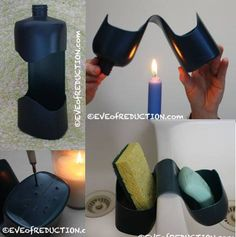 Recycle old bottle for soap and sponge holder