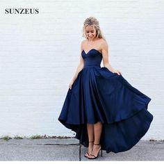 navy blue bridesmaid dress , short front long back bridesmaid dress , satin bridesmaid gown, cheap bridesmaid dress