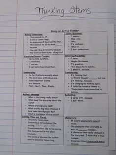 first of two pages of thinking stems for reading responses
