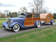 The 1934 Ford 'Woody' Station Wagon and teardrop trailer