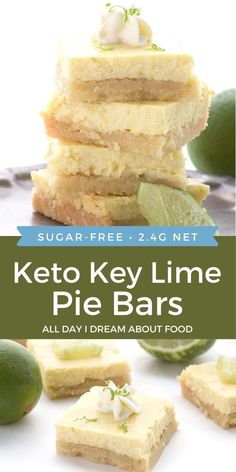 So tangy and creamy! These keto key lime pie bars will remind you of your childhood. Low carb and gluten-free, with an amazing almond flour shortbread crust. Less than 3g net carbs per serving! Low Carb Sweets, Low Carb Desserts, Low Carb Recipes, Cooking Recipes, Sugar Free Desserts, Dessert Recipes, Breakfast Recipes, Delicious Desserts, Key Lime Pie Bars