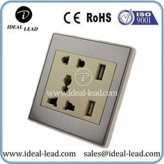 Brushed stainless steel universal usb 5 pin wall socket Outle