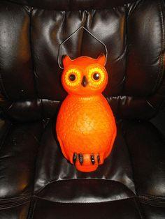 Vintage Union Products Halloween Blowmold Hanging Owl Lighted Plastic Yard Decor