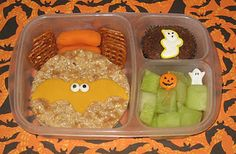 Halloween bat bento!  (Bat cookie cutter, sugar eyes, cute picks and a sugar ghost to decorate)