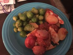 Mother's Day din din: chicken & potatoes baked in salsa w/Brussels Sprouts.