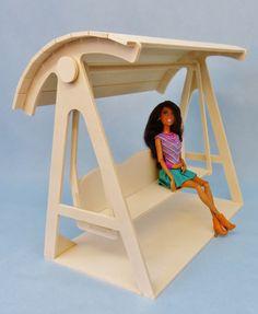 DIY - Mobilier de jardin : balancelle 1/6ème pour poupées mannequin en bois et en kit