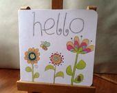 Hello - carte faite main - 15cm x 15cm : Cartes par card-bubble