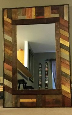 This hand made mirror from reused pallet wood. Perfect conversation piece to your home or business. This mirror can be custom made for your home