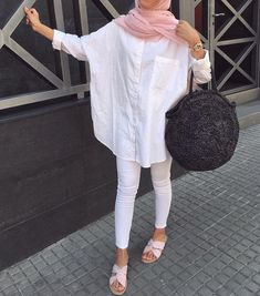 What to Wear White Blouse For Hijab Outfit Hijab. The very word conjures up i. What to Wear White Blouse For Hijab Outfit Hijab. The very word conjures up images of gorgeous M Hijab Fashion Summer, Modern Hijab Fashion, Street Hijab Fashion, Hijab Fashion Inspiration, Muslim Fashion, Modest Fashion, Winter Fashion, Casual Hijab Outfit, Hijab Chic