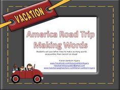 America Road Trip Making Words