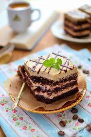 Ciasto kawowe z wiśniami        Składniki biszkopt :  ( blacha 24 cm x 36 cm )   7 jajek L,  1 kopiasta szklanka mąki,  2 łyżki kakao,  1...