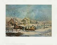 """Vintage 15"""" x 11.75"""" Currier and Ives Quality Print # 14, Suitable for Framing #Vintage"""