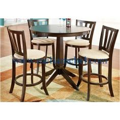 Shop for a Hallie 5 Pc Counter Height Dining Set at Rooms To Go. Find Dining Room Sets that will look great in your home and complement the rest of your furniture. Kitchen Nook Table, Dining Room Table Chairs, Table And Chair Sets, Dining Room Sets, Dining Room Furniture, Kitchen Redo, Affordable Furniture Stores, At Home Furniture Store, Furniture Shopping