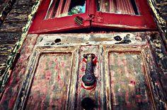 The door into a traditional Romani Caravan.  Love the Dutch doors.