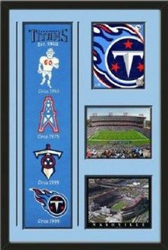 Tennessee Titans Banner With Logos- Tennessee Titans 2011 logo photo, Nashville Coliseum photo, LP Field 2011 photo Framed With Different Team Photos-Awesome & Beautiful-Must For Any Fan!