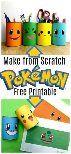 DIY Pokemon Pencil Holder! A fun craft that becomes a pencil holder for primary kids! #DIYpencilholders #pokemon