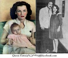 At the left princess fawzia fuad with her daughter nadia ismail shereen, and at the right nadia with her husband the egyptian actress yousef shaban