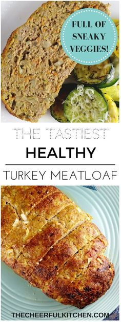 Healthy Turkey Meatloaf that is so moist and delicious, you won't believe all the veggies that are in it! From The Cheerful Kitchen