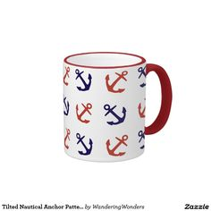 Tilted Nautical Anchor Pattern Ringer Coffee Mug
