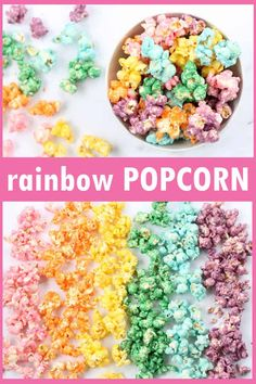 50e80cad Rainbow popcorn! How to make colored popcorn, a fun food idea for a rainbow