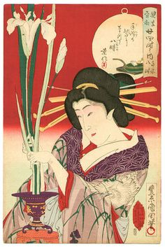 Toyohara Kunichika: Flower Arranging at 8 a.m. - Scenes of the Twenty-four Hours - Artelino