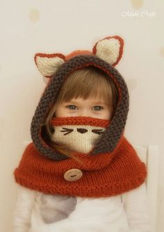 This is knitting pattern for fox hood Rene with a cowl inside which gives good coverage. Perfect to wrap up those cold autumn and winter days and look