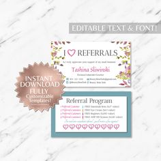 Floral And Teal Referral Business Cards INSTANT Template
