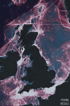 Fishing boat traffic around the UK Saltwater Fishing Gear, Fishing Tips, Map Geo, Marine Traffic, Boating Holidays, Fishing Vessel, Boat Seats, Fishing Supplies, Kingdom Of Great Britain