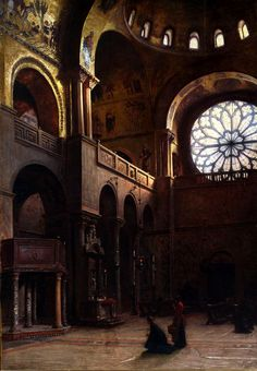 """Interior of Saint Mark's Basilica in Venice""(1899) by Aleksander Gierymski (Polish,1850-1901) , oil on canvas, 110 x 78 cm, National Museum, Warsaw"
