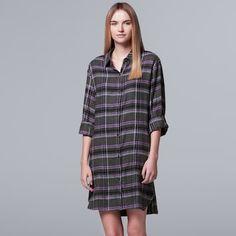 bf7aef11023e Women s Simply Vera Vera Wang Pajamas  Flirting With Autumn Long Sleeve  Flannel Sleep Shirt Simply