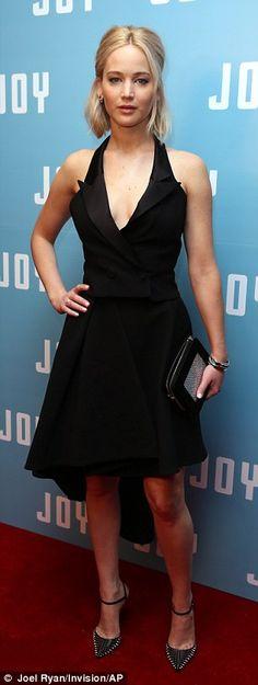 Jennifer Lawrence wears super-plunging blazer dress for Joy photocall | Daily Mail Online